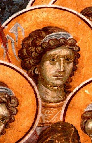 """Ангелы Господни. Фрагменты фрески """"Успение Пресвятой Богородицы"""". Монастырь Грачаница, Косово, Сербия. Около 1320 года."""