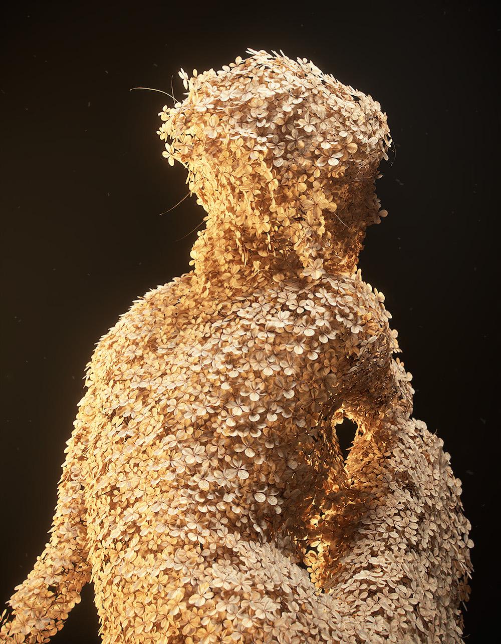 Digital Sculptures of Female Forms Rendered in Flowers by Jean-Michel Bihorel