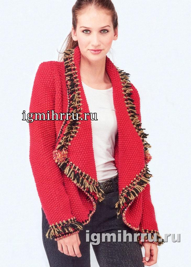 Красный жакет из жемчужного узора, украшенный кистями. Вязание спицами
