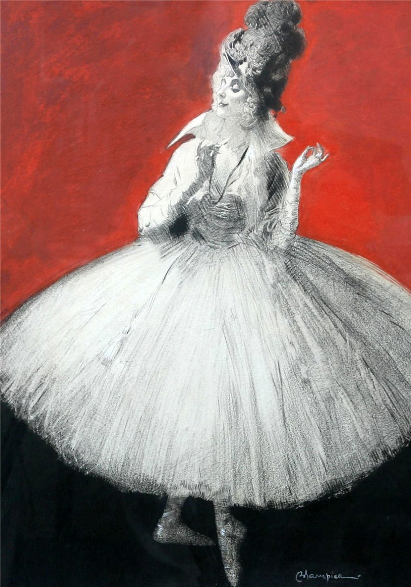 Russian ballerina Anna Pavlova in 'Rondino, New York 1916. Painting by Edmund Blampied