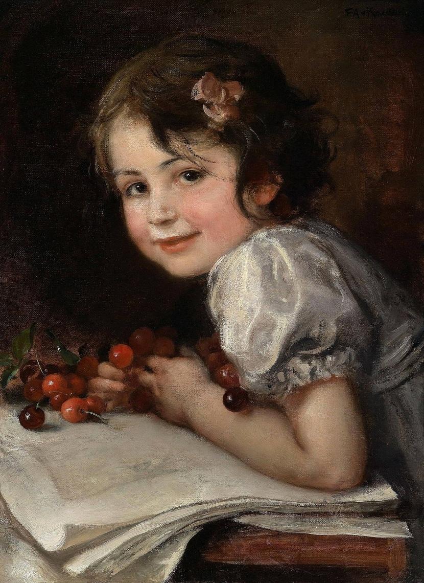1902 (ок) Вишни - портрет дочери художника Гедды (Cherries - Portrait Of Daughter Hedda)