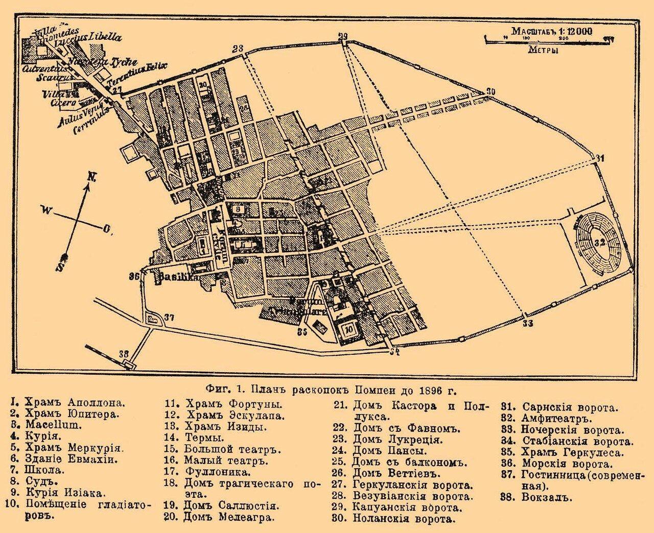 План раскопок Помпеи