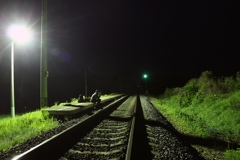 Саня Фокин на ночной платформе 168 км