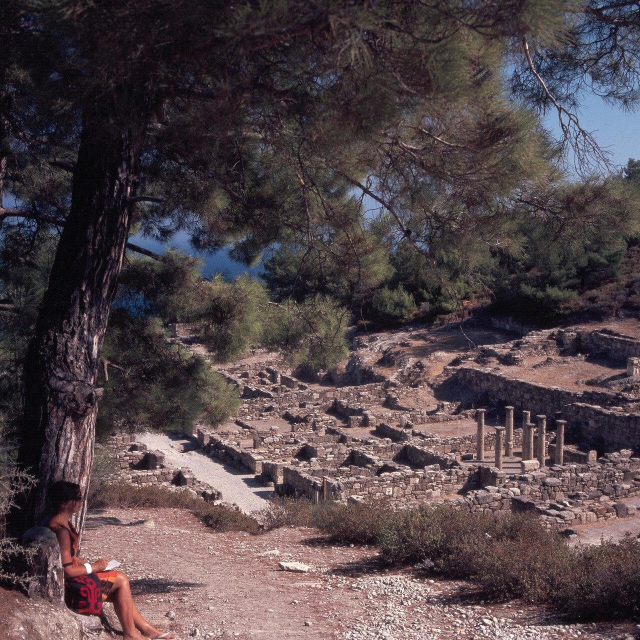 Камирос. Декуманос (улица, ориентированная с востока на запад) и жилая часть города. II в. до н.э.