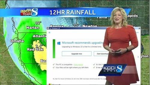 Обновление Windows 10 прервало трансляцию прогноза погоды ТВ