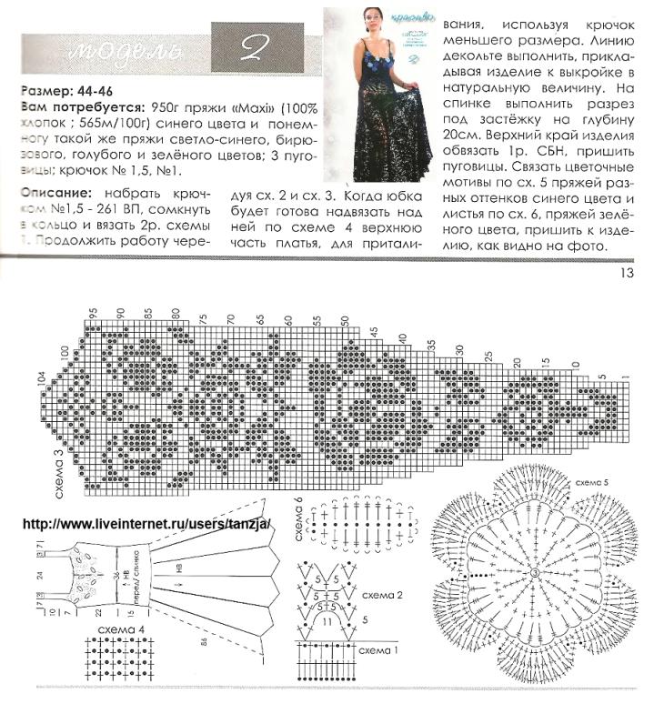 Вязание крючком филейное платья розами с описанием и схемами 81