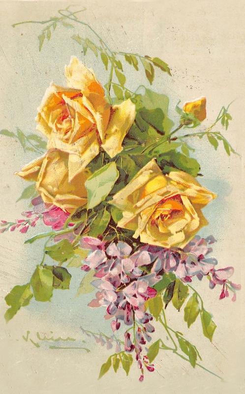 Старые открытки с букетом