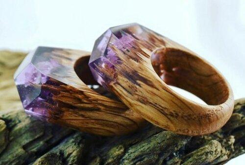 Миниатюрные пейзажи на деревянных кольцах