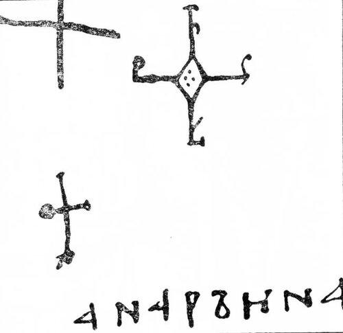 Подписи короля Франции Генриха I (кресты) и королевы Анны под грамотой Суассонскому аббатству