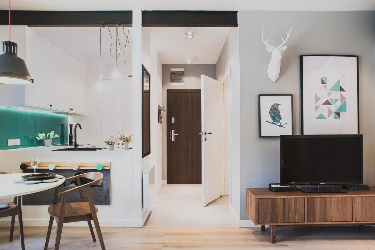 Raca Architekci, Szafarnia 2 Apartment, интерьер квартиры хипстера, оформление квартиры-студии, дизайн интерьера студии фото, квартиры в Польше фото