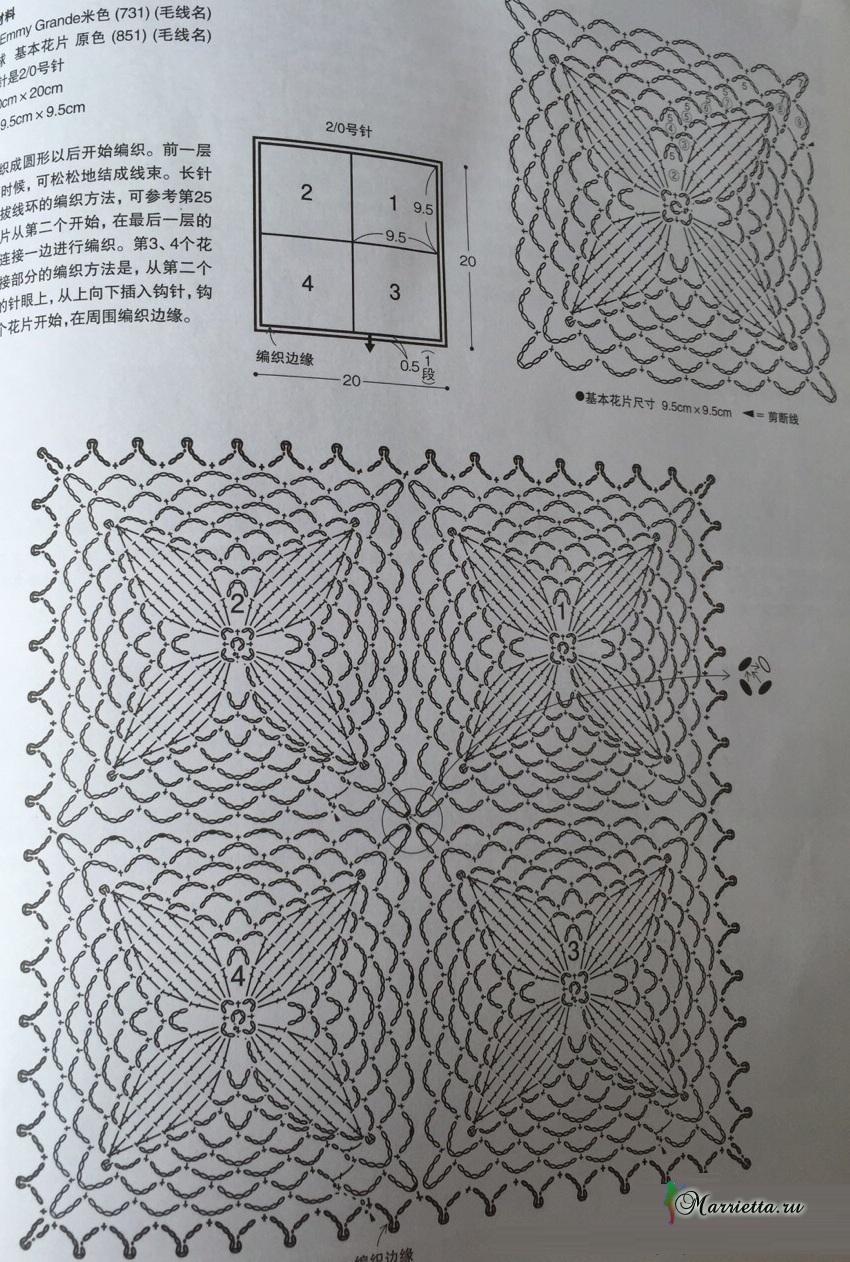 Ажурная салфетка крючком. Схема вязания