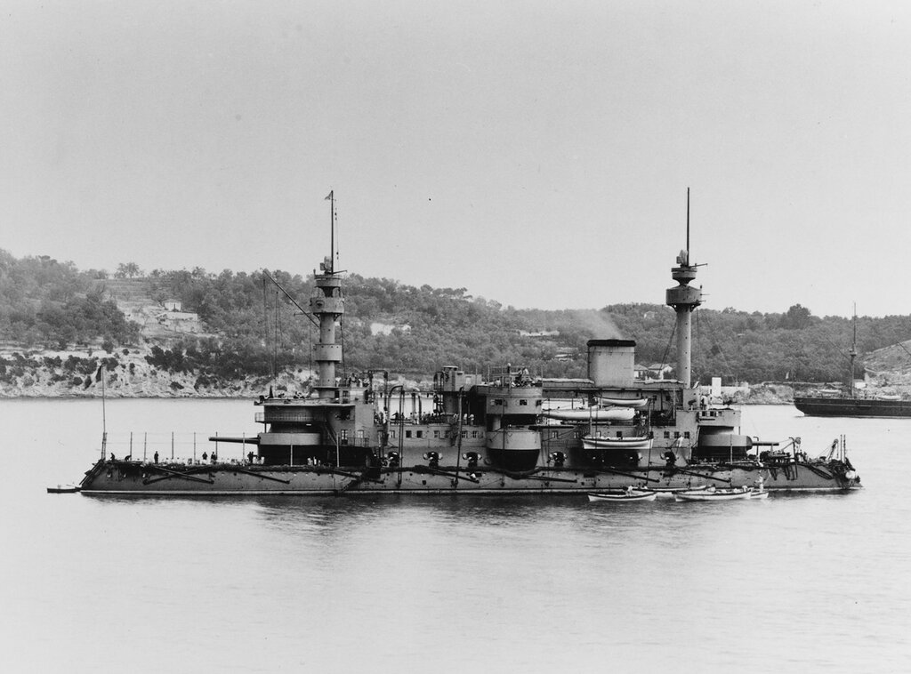 HOCHE (French battleship, 1886-1913). taken at Villefranche, France