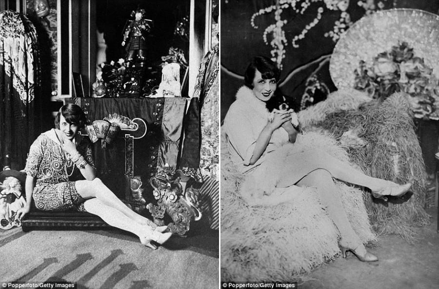 19. Фото французской актрисы, певицы и танцовщицы Мистангет, сделанное приблизительно в 1900 году.