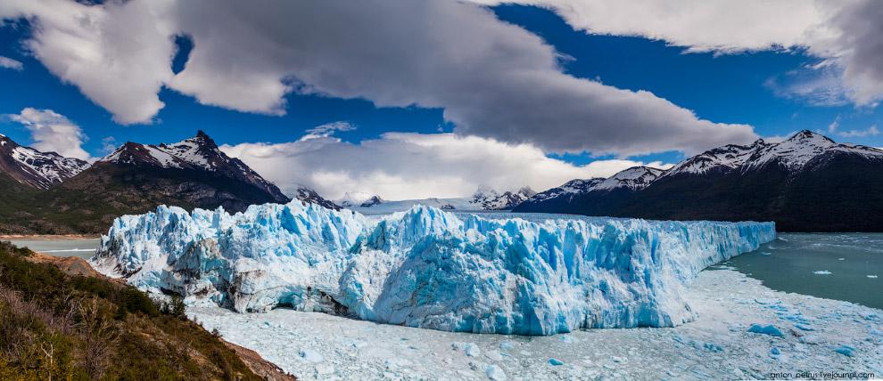 15. Ледник Перито-Морено — один из трёх неотступающих ледников Патагонии. Периодически ледник н
