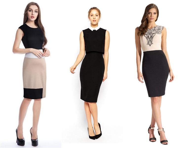 офисные платья контрастных цветов 2016