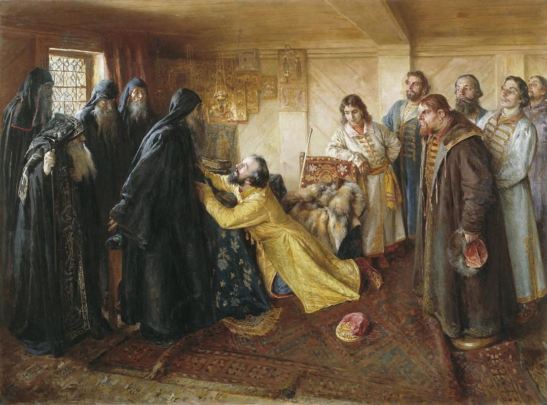 Клавдий Лебедев, Царь Иван Грозный просит игумена Корнилия постричь его в монахи, холст, масло, Эрмитаж