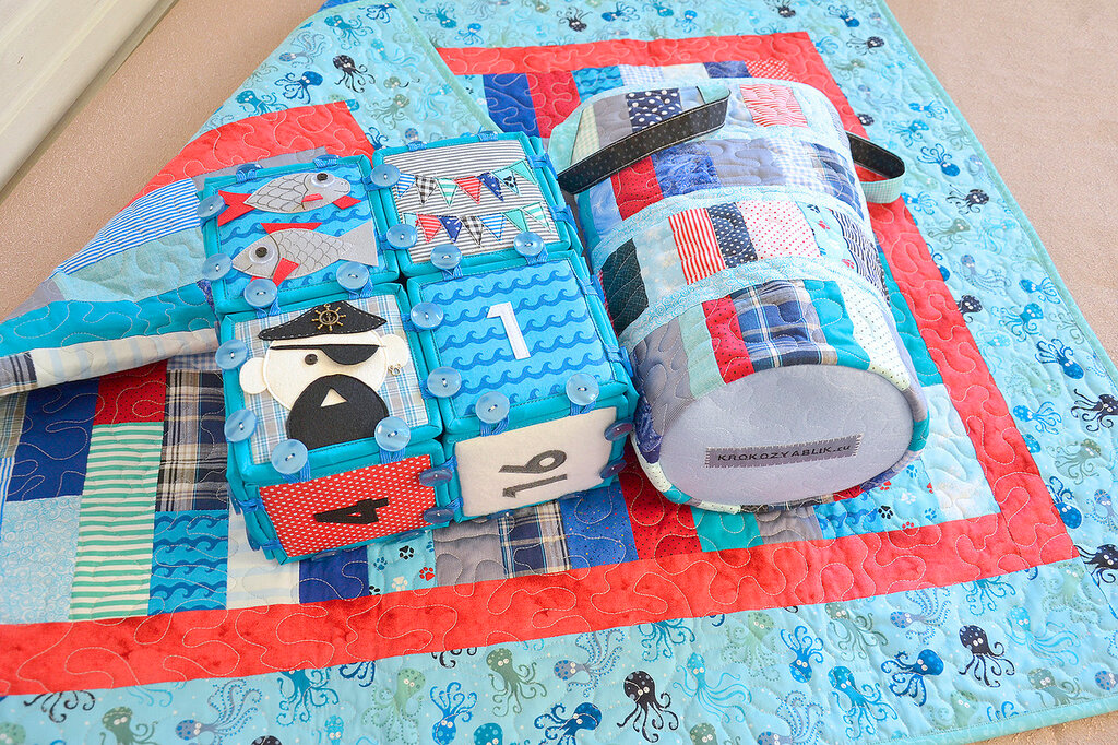 морские кубики текстильный набор покрывало торба (5).JPG