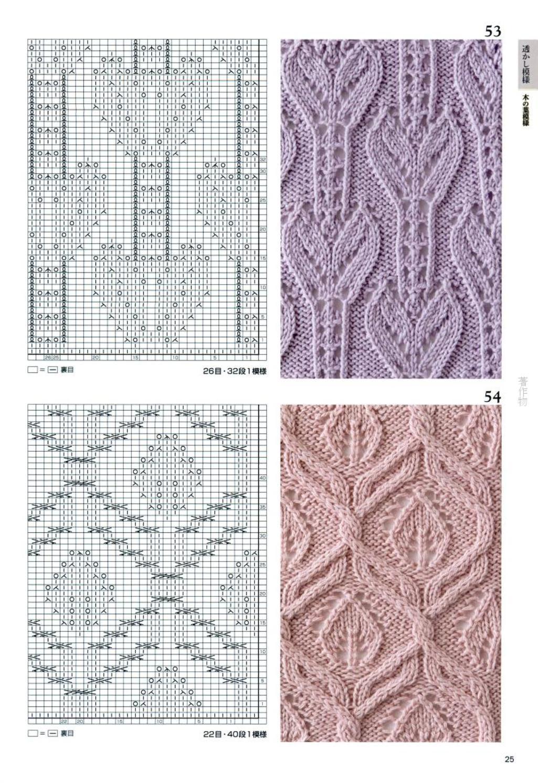 Каталог ажурных узоров спицами - АЖУР схемы узоров