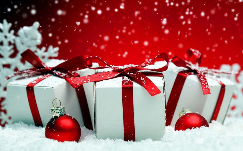 Новогодние подарки, фоны для надписей