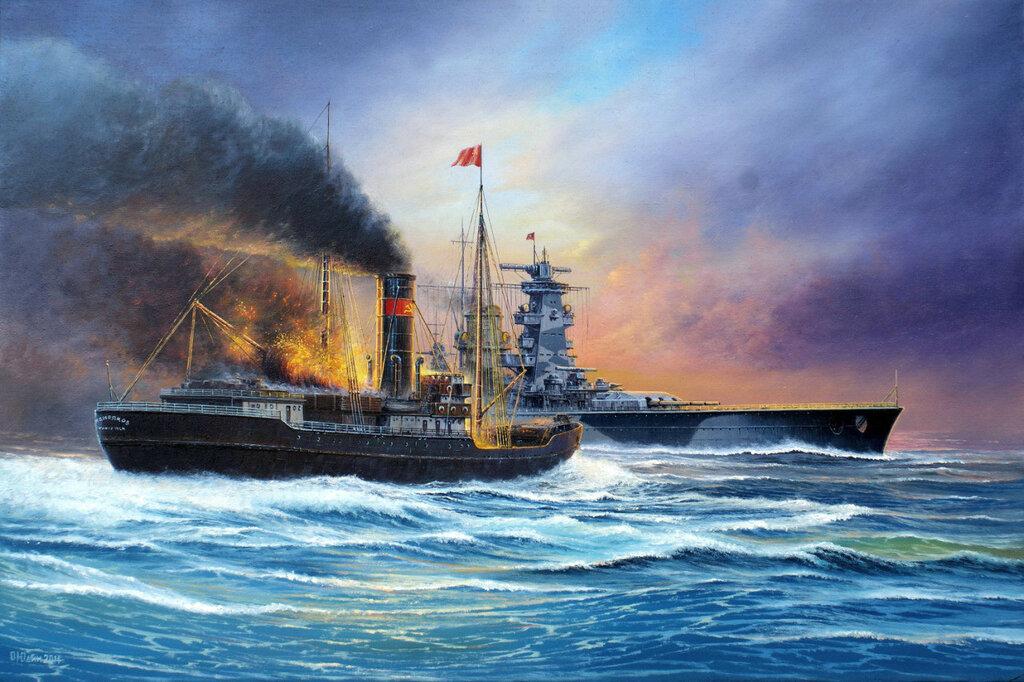 1942 08 25 Mar de Kara Hundimiento del rompehielos Sybiriakov por el Admiral Scheer.