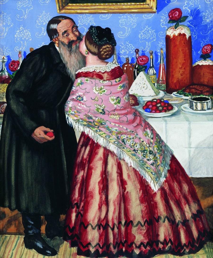 Б. М. Кустодиев. Пасхальный обряд (Христосование).1916