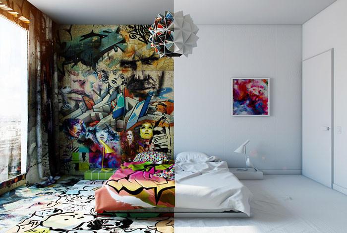 Как правильно сочетать минимализм и граффити (7 фото)