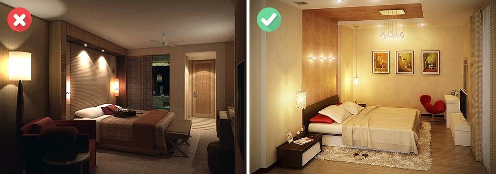 Искусственное освещение также играет немаловажную роль врасширении границ квартиры. Здесь правила п