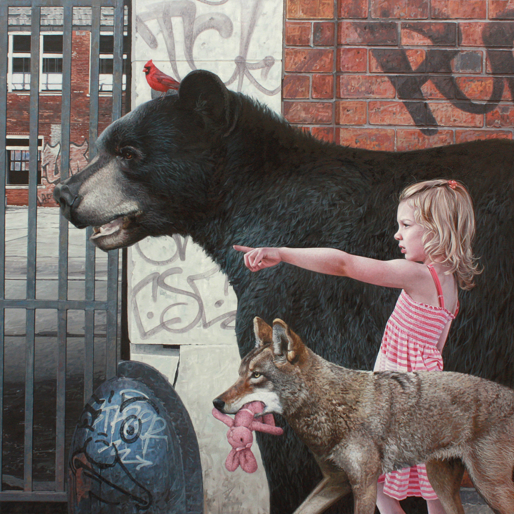 Hyperrealist painter Kevin Peterson paints fairytale-like interactions of children and wolves, birds