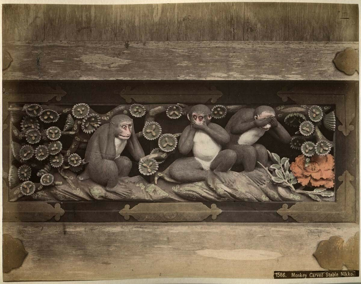 Никко. Вырезанные обезьянки