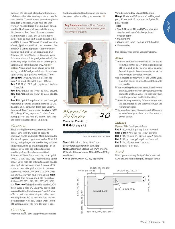 Minnette Pullover by Cassie Castillo - Knitscene, Winter 2012