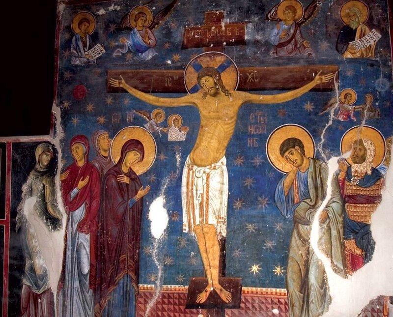 Распятие Христа. Фреска церкви Богородицы в Студенице, Сербия. 1208 - 1209 годы.