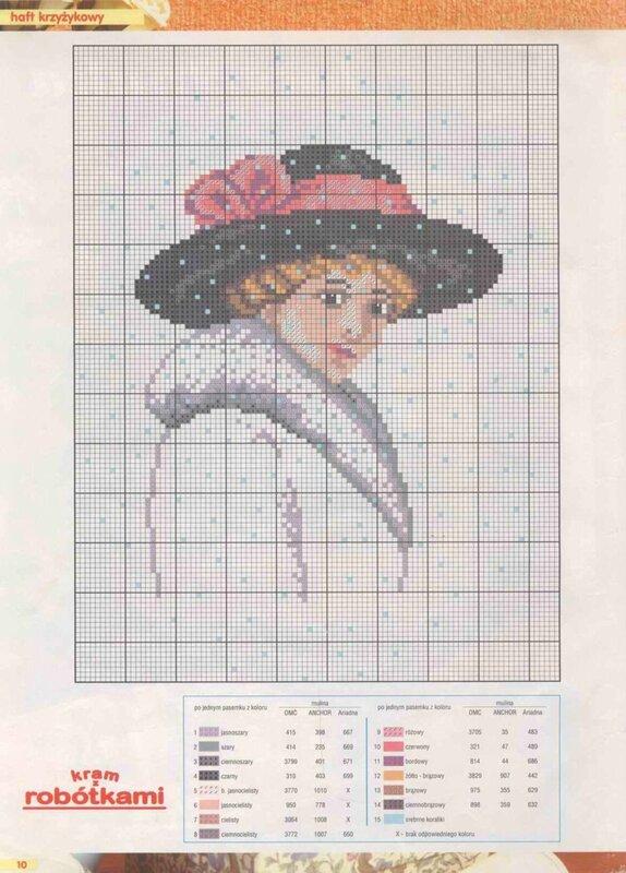 Схема вышивки женщина в красной шляпе 81