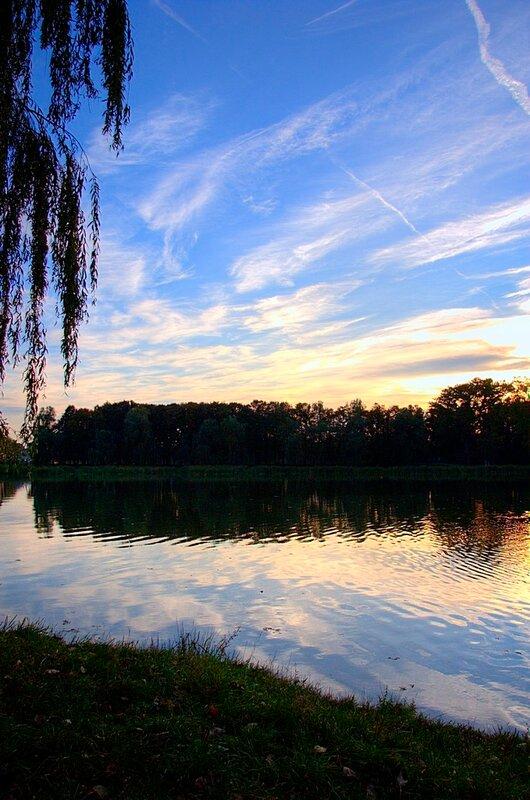 вечер в парке у озера
