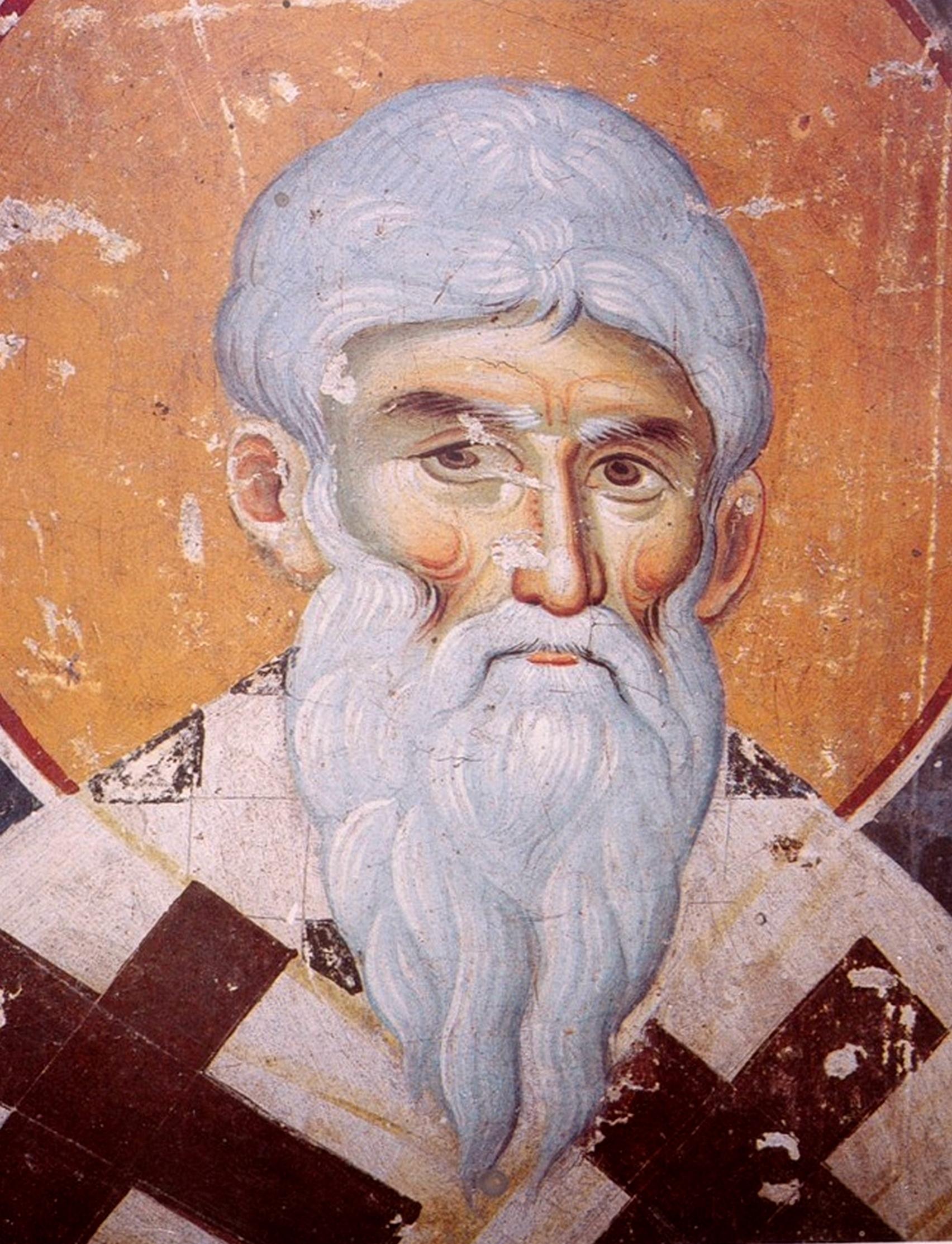 Священномученик Дионисий Ареопагит. Фреска конца XIII века в монастыре Протат на Афоне. Иконописец Мануил Панселин.