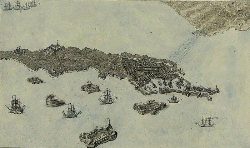 Вид Кронштадта. Аксонометрический план. 1855 год. (увеличенный фрагмент)