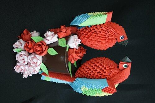 Модульное оригами. Попугаи.