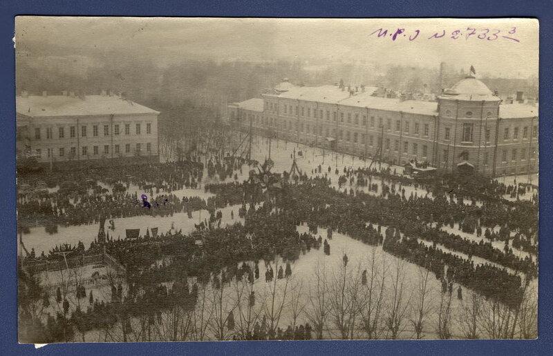 Площадь Новособорная в день перезахоронения жертв колчаковцев 22 января 1920 г.