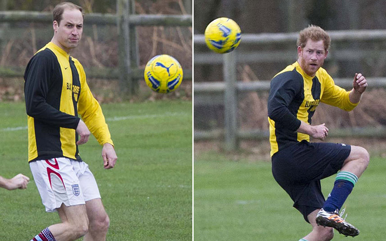 Prince Harry and the Duke of Cambridge were in Sandringham taking part in the a charity football match