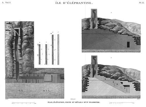 Древнеегипетский город Элефантина, верхний Нил, ниломер, чертежи