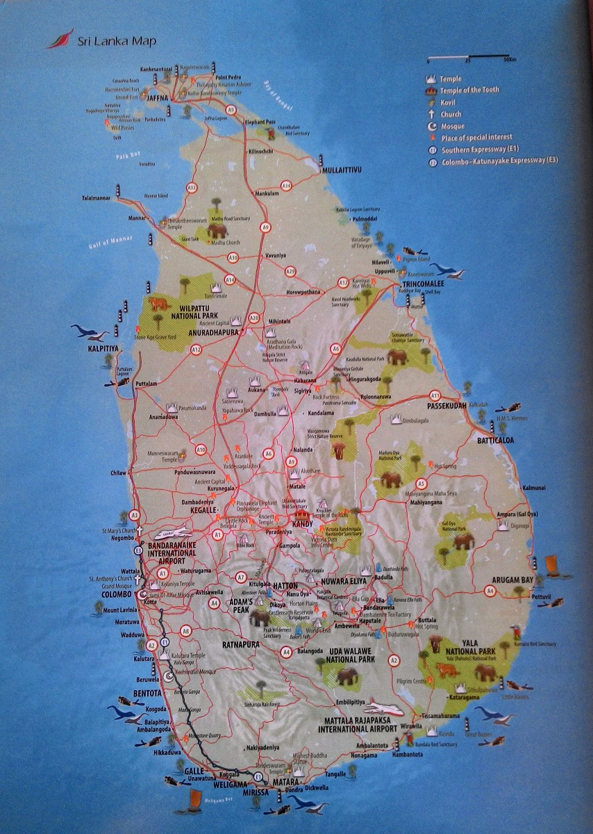 Карта расположения национальных парков Шри-Ланки, в которые можно отправиться на сафари. Как видно, слонов в дикой природе можно увидеть не только в заповеднике Яла (Yala National Park)