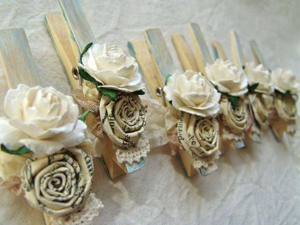 Бельевые прищепки для оформления свадьбы