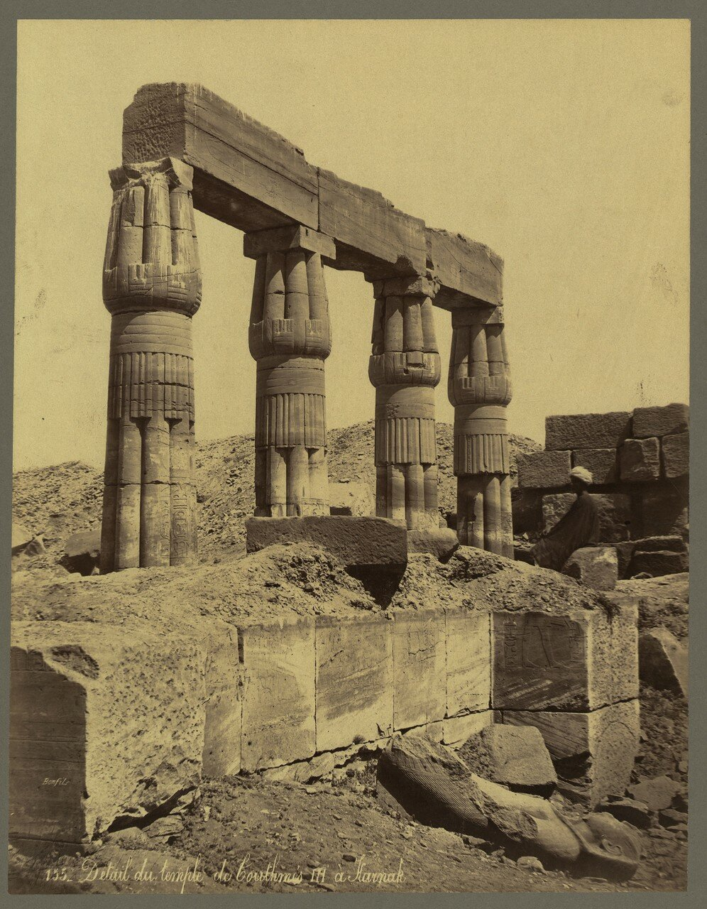 Карнак (Фивы). Фрагмент храма Тутмоса III. 1867