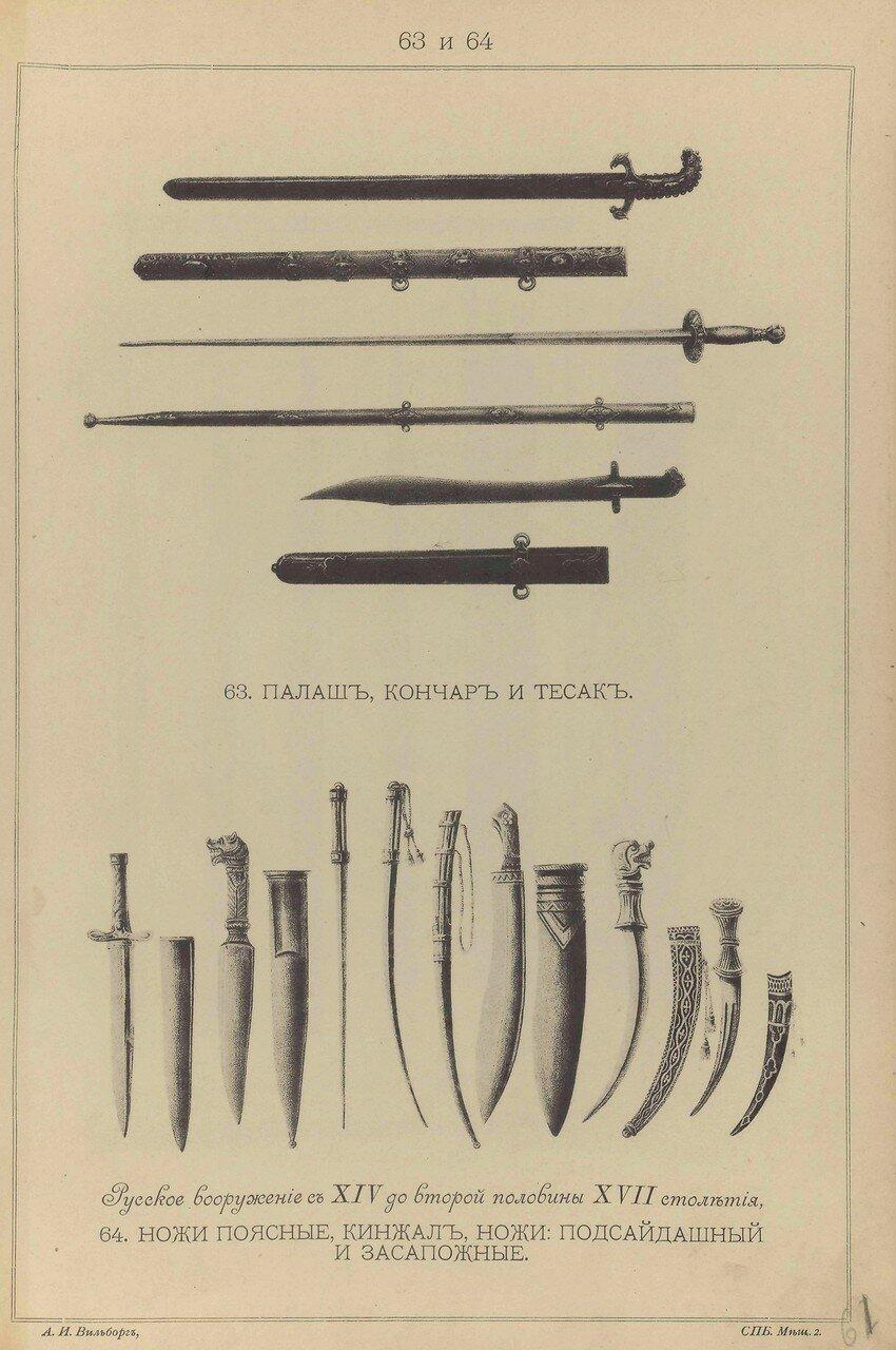 63-64.  Русское вооружение с ХIV до половины ХVII столетия.  Палаш, кончар, тесак, ножи поясные, кинжал, ножи подсайдашный и засапожные