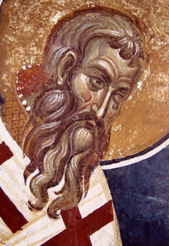 Святитель Арсений, Архиепископ Сербский. Фреска монастыря Высокие Дечаны, Косово, Сербия. Около 1350 года.