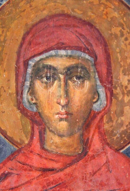 Святая. Фреска монастыря Зарзма, Грузия.