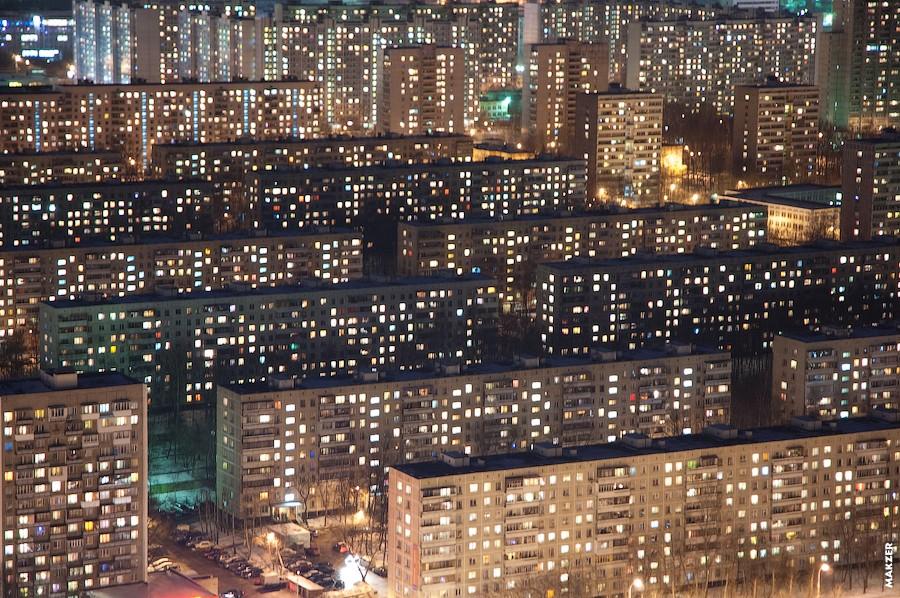 Вид на Чертаново снизу Чертановская улица, справа снизу Сумской проезд, около церкви, вид с верхнего этажа Авеню 77...