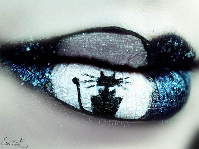 Макияж губ на Хэллоуин от художника Евы Пернас
