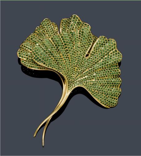Hemmerle - Tsavorit gold brosche