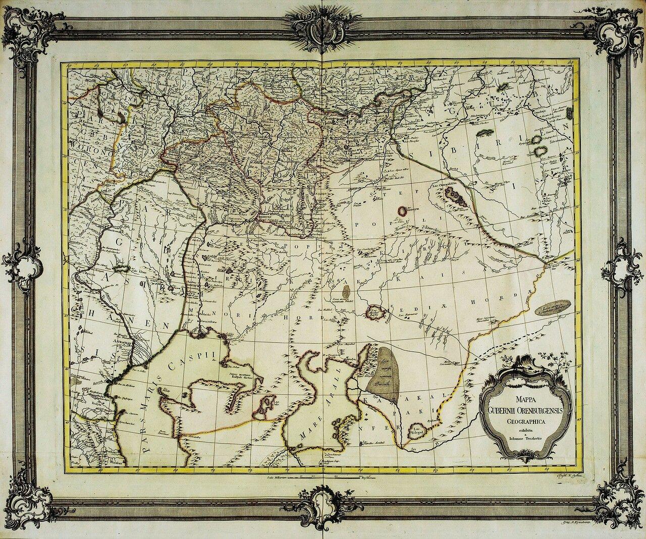 1750. Карта Оренбургской губернии