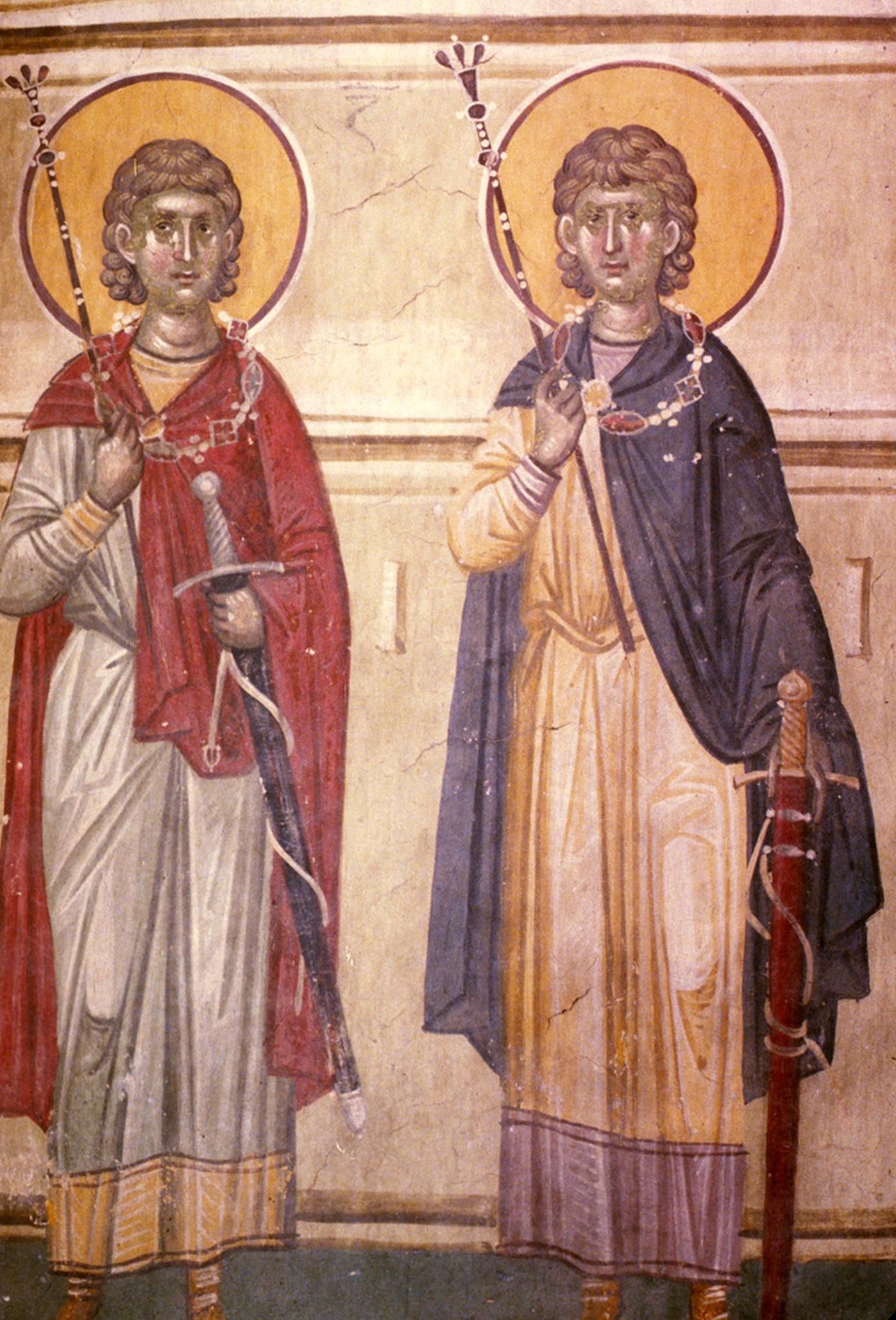 Святые мученики Сергий и Вакх. Фреска монастыря Грачаница, Косово, Сербия. Около 1320 года.